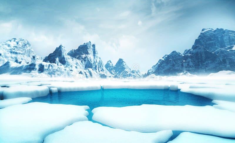 Gebarsten ijsbergstukken met grote bergen achter achtergrond stock illustratie