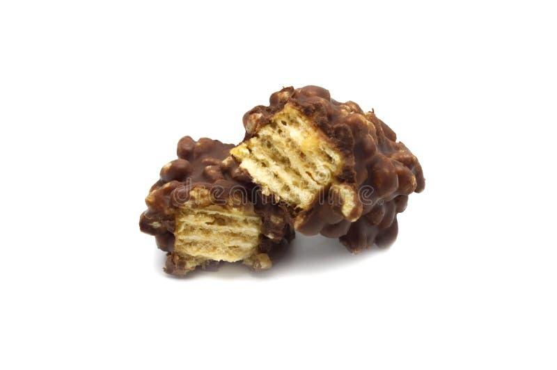 Gebarsten knapperige wafeltjeschocolade royalty-vrije stock foto's