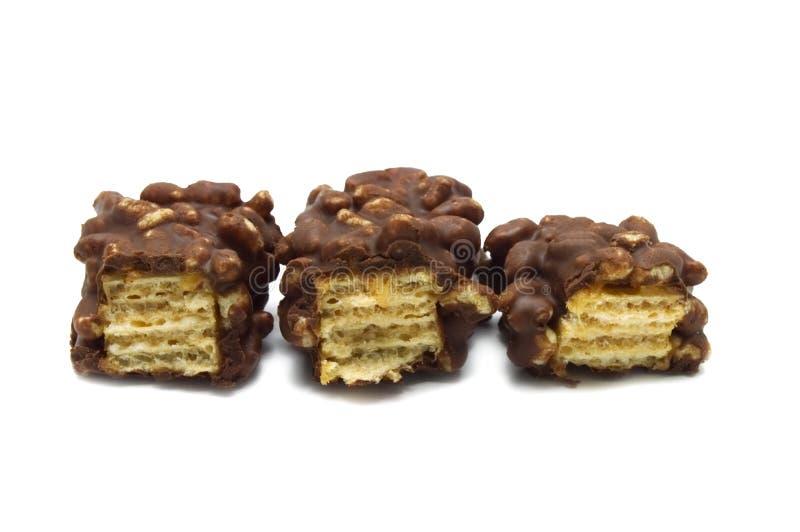 Gebarsten knapperige wafeltjeschocolade royalty-vrije stock afbeeldingen