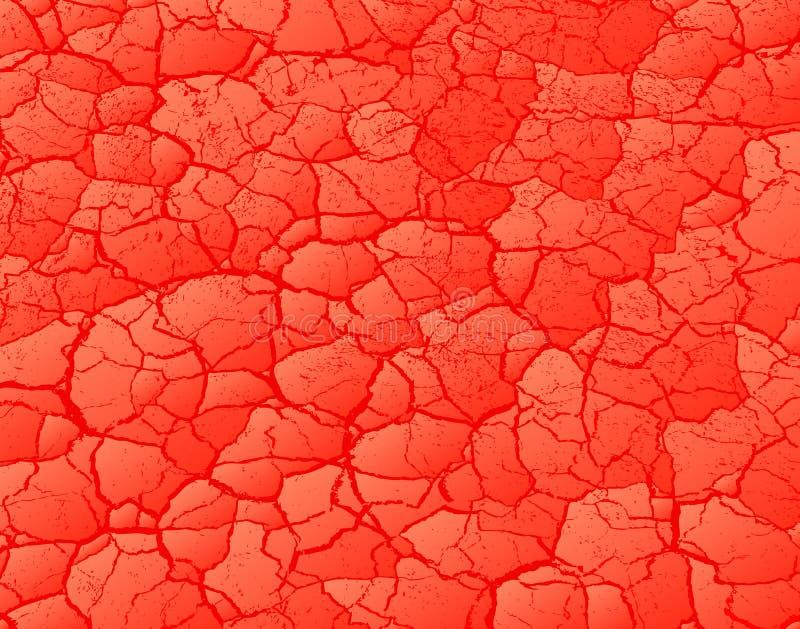 Gebarsten rood stock illustratie