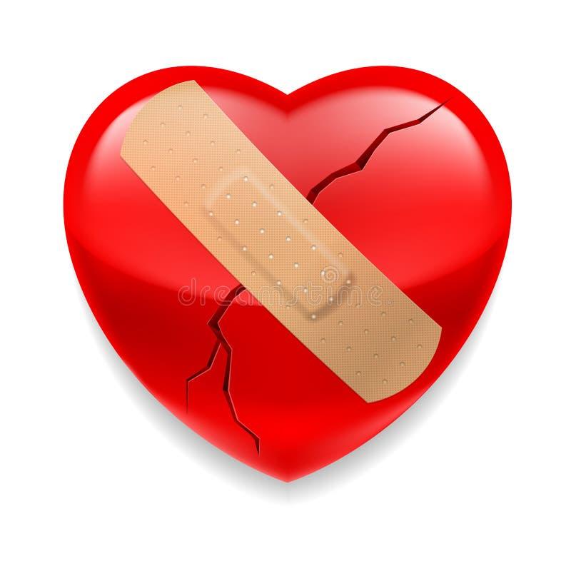 Gebarsten rood hart met pleister royalty-vrije illustratie