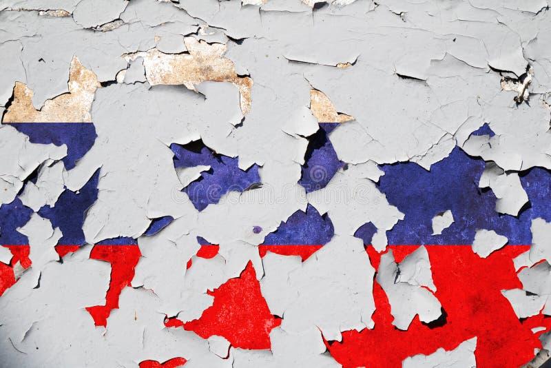 Gebarsten Russische Federatie nationale vlag royalty-vrije stock foto's