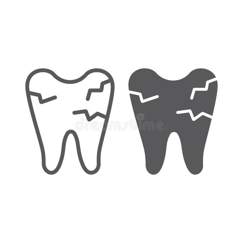 Gebarsten tandlijn en glyph pictogram, mond en tand, beschadigd tandteken, vectorafbeeldingen, een lineair patroon op een wit royalty-vrije illustratie