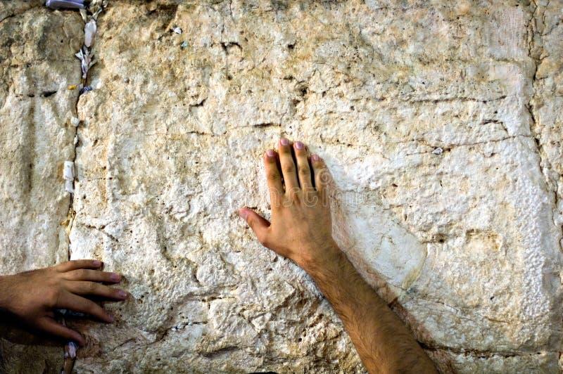 Gebed bij de loeiende muur, Jeruzalem Israël stock afbeeldingen