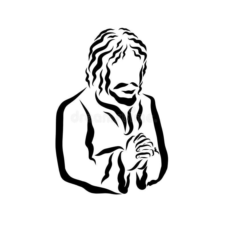 Gebed, Christelijke geloof en bekentenis, zwart patroon vector illustratie