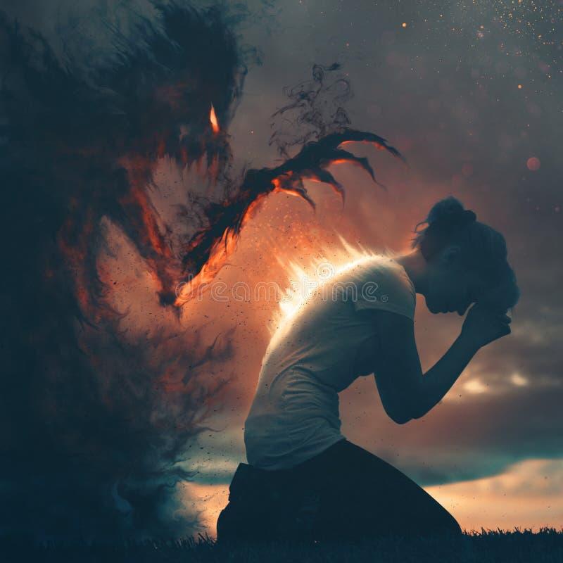 Gebed en duisternis stock foto