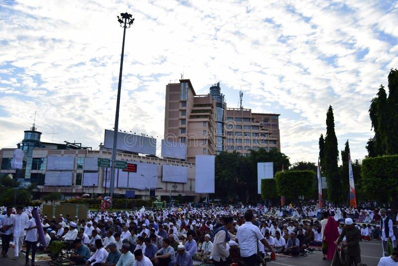Gebed idul fitri in Semarang royalty-vrije stock foto's