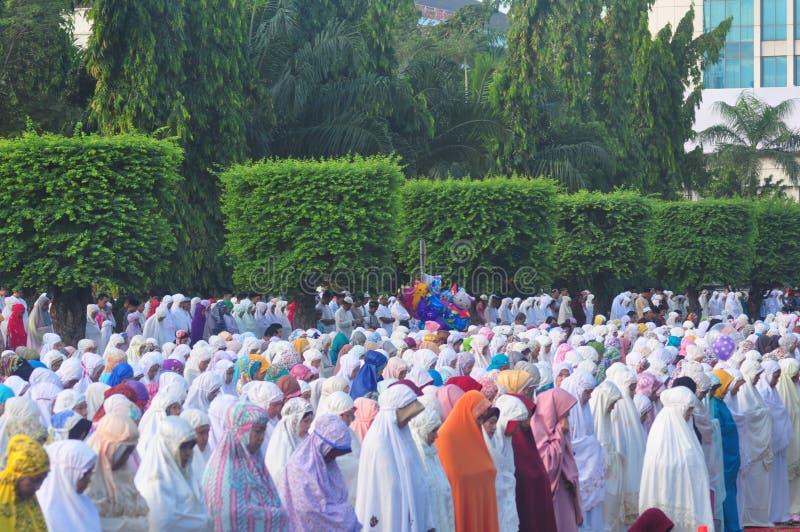 Gebed idul fitri in Semarang royalty-vrije stock foto
