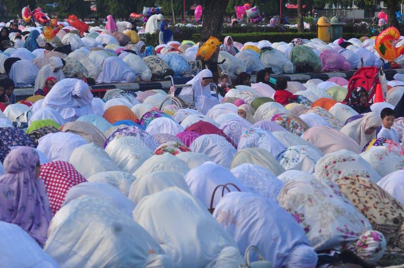 Gebed idul fitri in Semarang royalty-vrije stock afbeelding