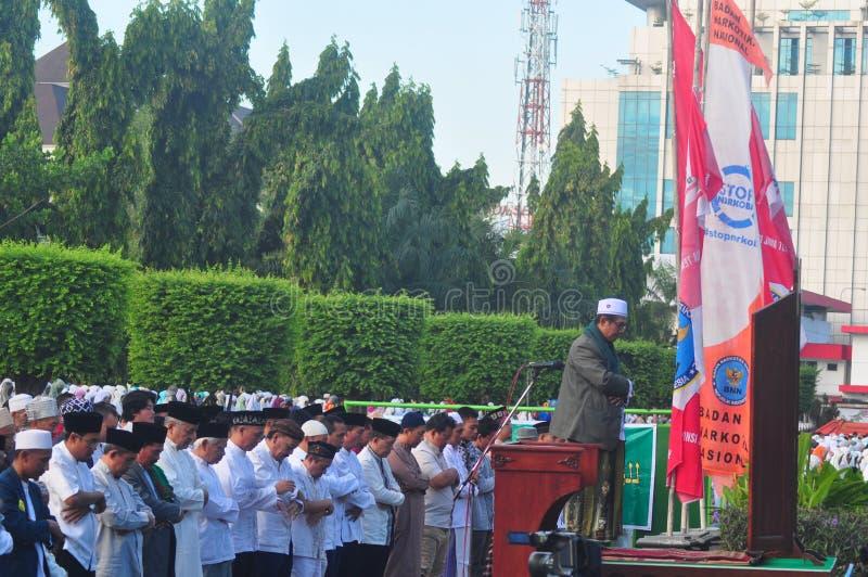 Gebed idul fitri in Semarang royalty-vrije stock fotografie