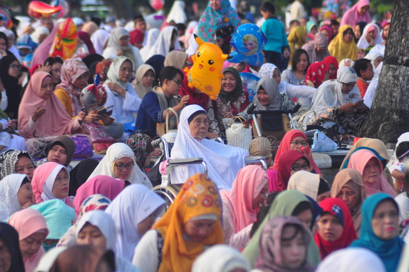 Gebed idul fitri in Semarang royalty-vrije stock afbeeldingen