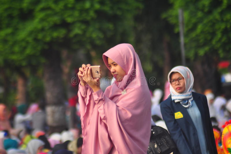 Gebed idul fitri in Semarang stock fotografie