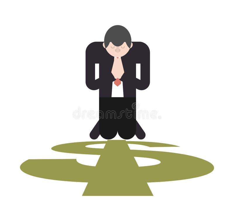 Gebed voor geld De zakenman bidt op zijn knieën aan dollar stock illustratie