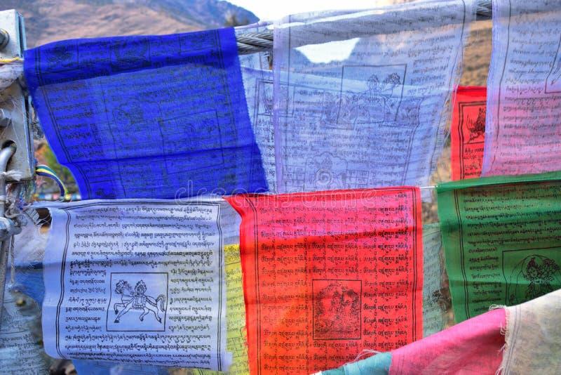 Gebedvlaggen met Mantras royalty-vrije stock foto