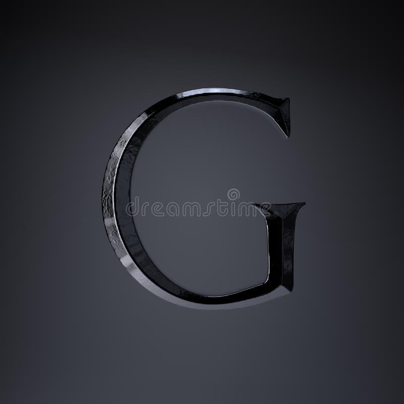 Gebeitelde ijzerbrief G in hoofdletters 3d geef spel of filmtiteldoopvont terug op zwarte achtergrond wordt geïsoleerd die royalty-vrije illustratie
