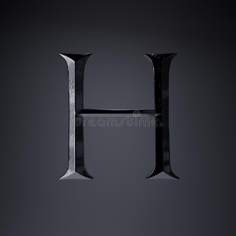 Gebeitelde ijzerbrief H in hoofdletters 3d geef spel of filmtiteldoopvont terug op zwarte achtergrond wordt geïsoleerd die vector illustratie