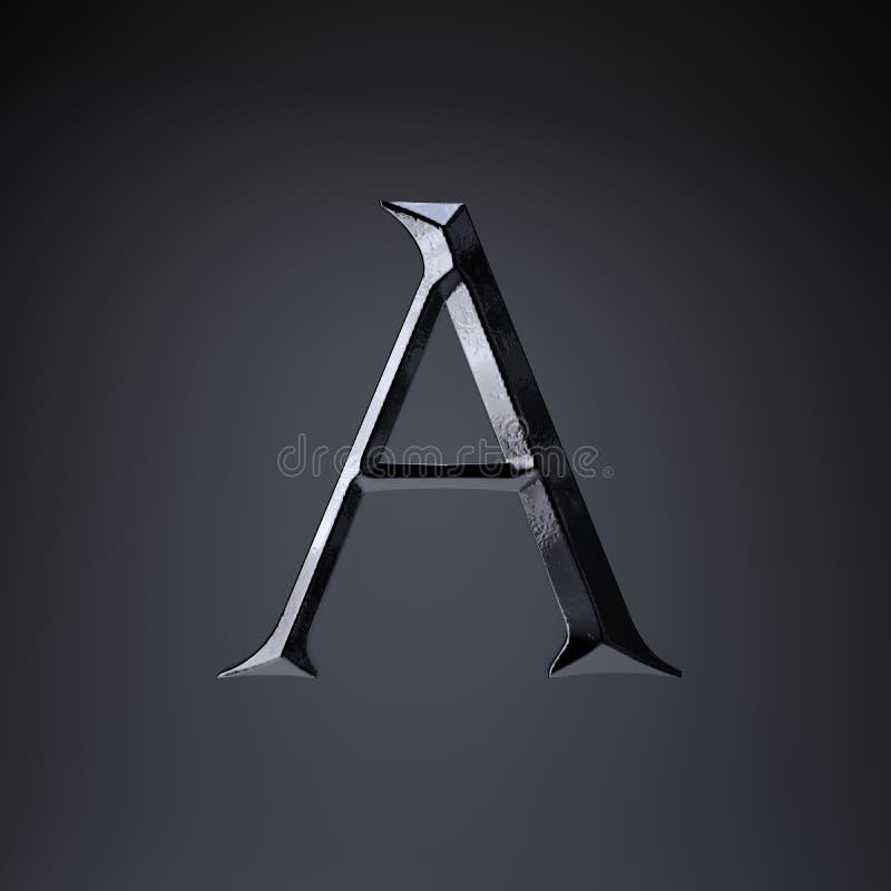 Gebeitelde ijzerbrief A in hoofdletters 3d geef spel of filmtiteldoopvont terug op zwarte achtergrond wordt geïsoleerd die royalty-vrije illustratie