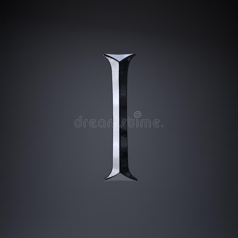 Gebeitelde ijzerbrief I in hoofdletters 3d geef spel of filmtiteldoopvont terug op zwarte achtergrond wordt geïsoleerd die vector illustratie