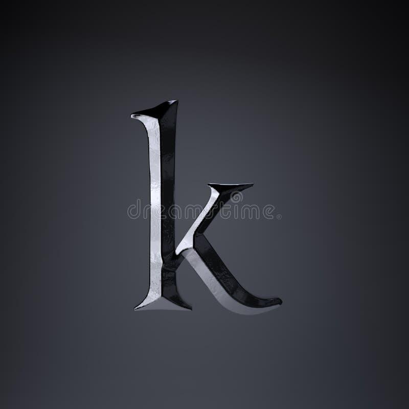 Gebeitelde ijzerbrief K in kleine letters 3d geef spel of filmtiteldoopvont terug op zwarte achtergrond wordt geïsoleerd die stock illustratie