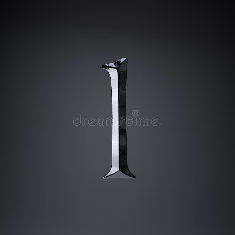 Gebeitelde ijzerbrief L in kleine letters 3d geef spel of filmtiteldoopvont terug op zwarte achtergrond wordt geïsoleerd die stock illustratie