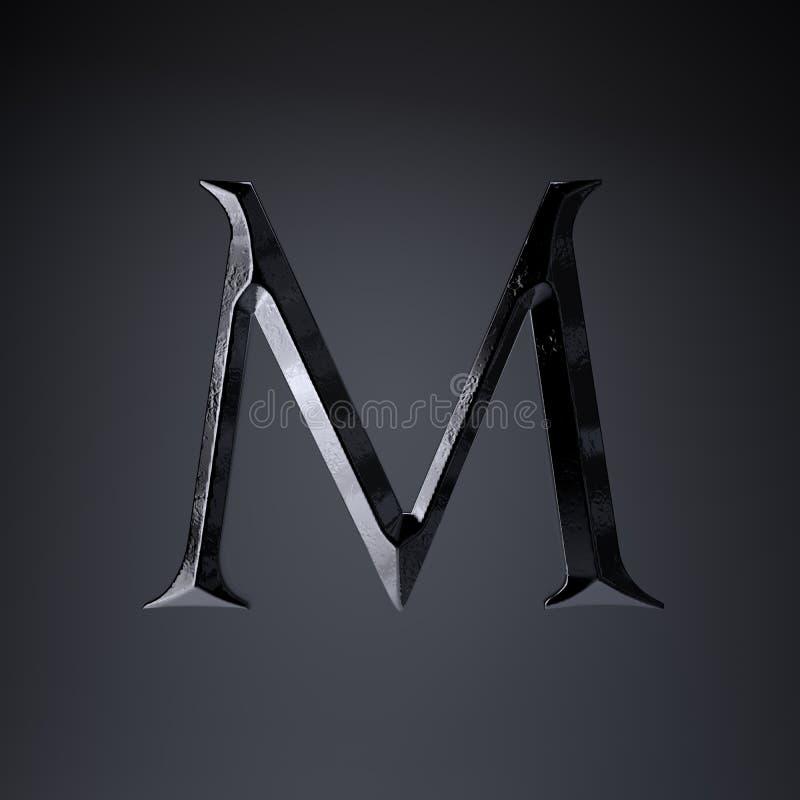 Gebeitelde ijzerbrief M in hoofdletters 3d geef spel of filmtiteldoopvont terug op zwarte achtergrond wordt geïsoleerd die stock illustratie