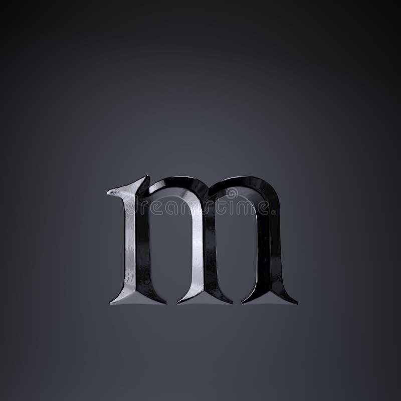 Gebeitelde ijzerbrief M in kleine letters 3d geef spel of filmtiteldoopvont terug op zwarte achtergrond wordt geïsoleerd die vector illustratie
