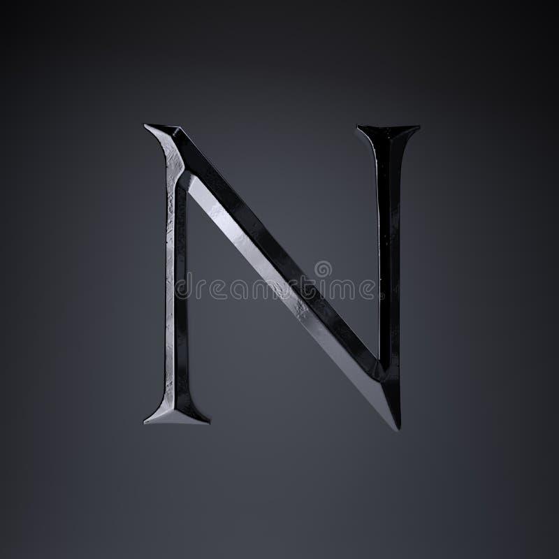 Gebeitelde ijzerbrief N in hoofdletters 3d geef spel of filmtiteldoopvont terug op zwarte achtergrond wordt geïsoleerd die vector illustratie