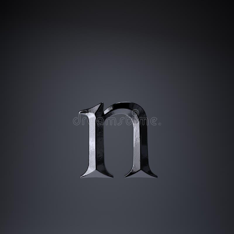 Gebeitelde ijzerbrief N in kleine letters 3d geef spel of filmtiteldoopvont terug op zwarte achtergrond wordt geïsoleerd die stock illustratie