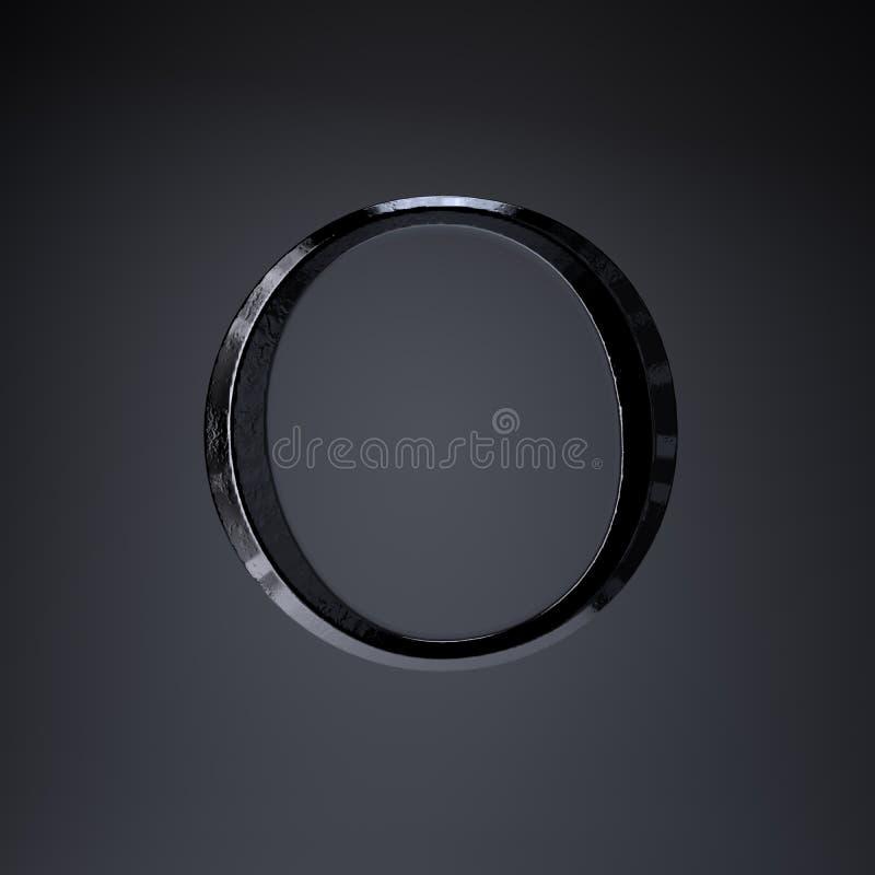 Gebeitelde ijzerbrief O in hoofdletters 3d geef spel of filmtiteldoopvont terug op zwarte achtergrond wordt geïsoleerd die stock illustratie