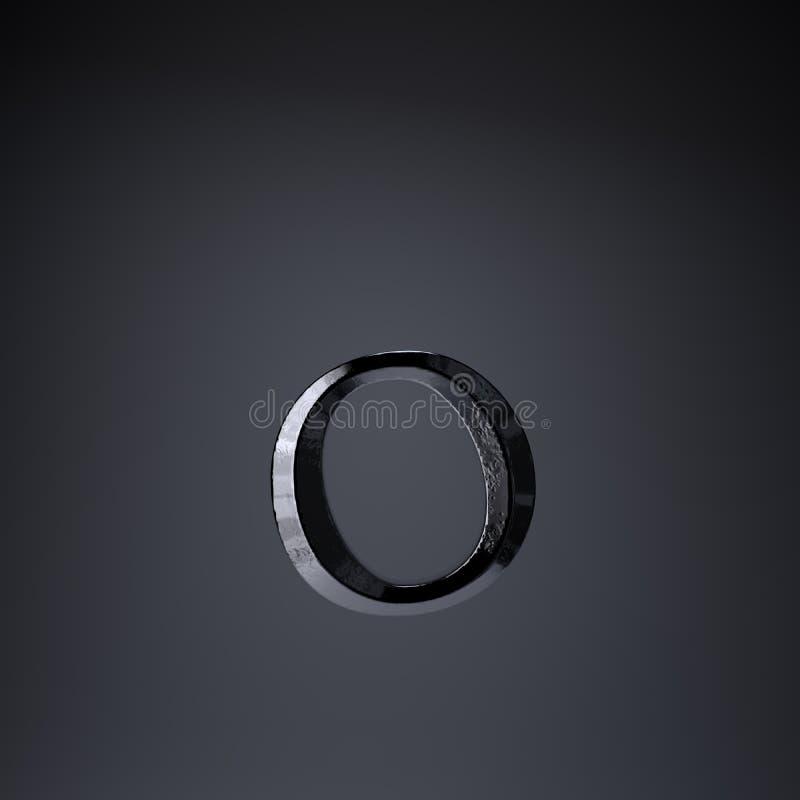 Gebeitelde ijzerbrief O in kleine letters 3d geef spel of filmtiteldoopvont terug op zwarte achtergrond wordt geïsoleerd die vector illustratie