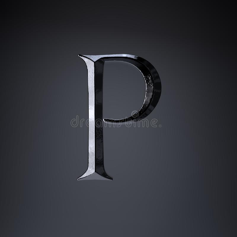 Gebeitelde ijzerbrief P in hoofdletters 3d geef spel of filmtiteldoopvont terug op zwarte achtergrond wordt geïsoleerd die stock illustratie
