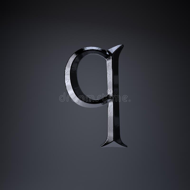 Gebeitelde ijzerbrief Q in kleine letters 3d geef spel of filmtiteldoopvont terug op zwarte achtergrond wordt geïsoleerd die stock illustratie