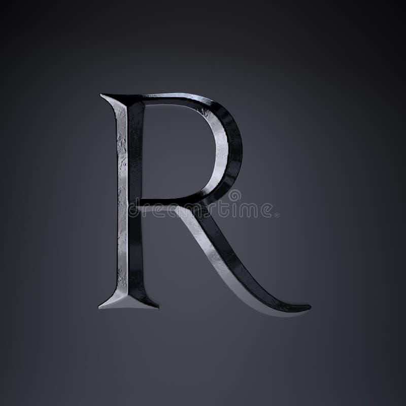 Gebeitelde ijzerbrief R in hoofdletters 3d geef spel of filmtiteldoopvont terug op zwarte achtergrond wordt geïsoleerd die royalty-vrije illustratie