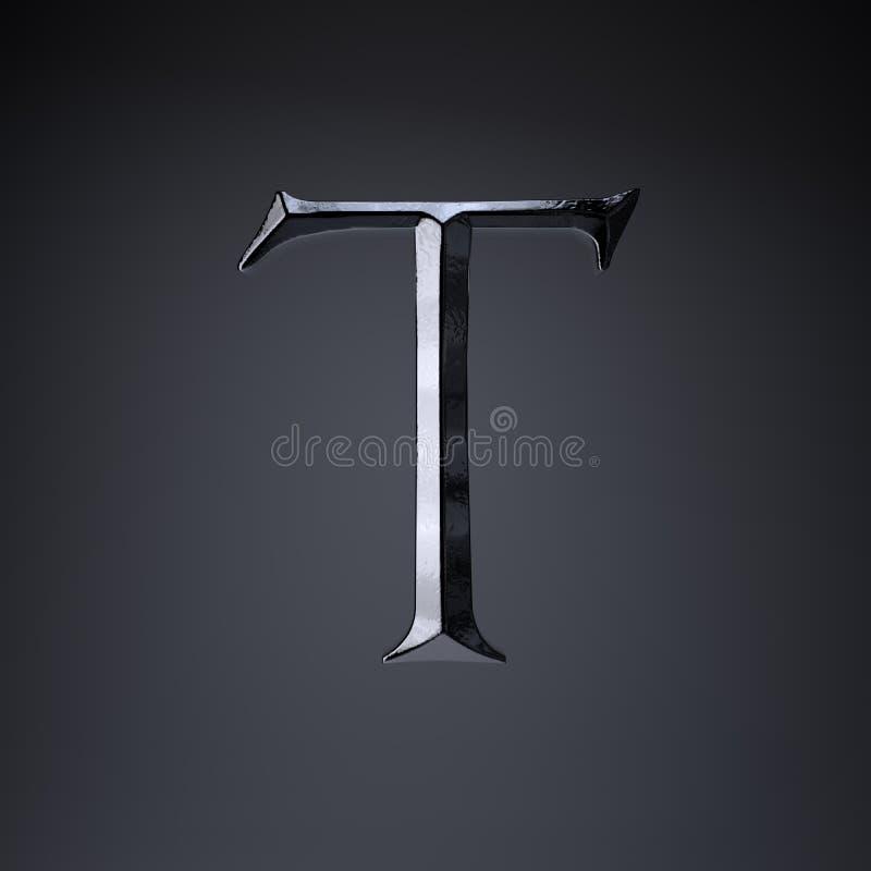 Gebeitelde ijzerbrief T in hoofdletters 3d geef spel of filmtiteldoopvont terug op zwarte achtergrond wordt geïsoleerd die royalty-vrije illustratie