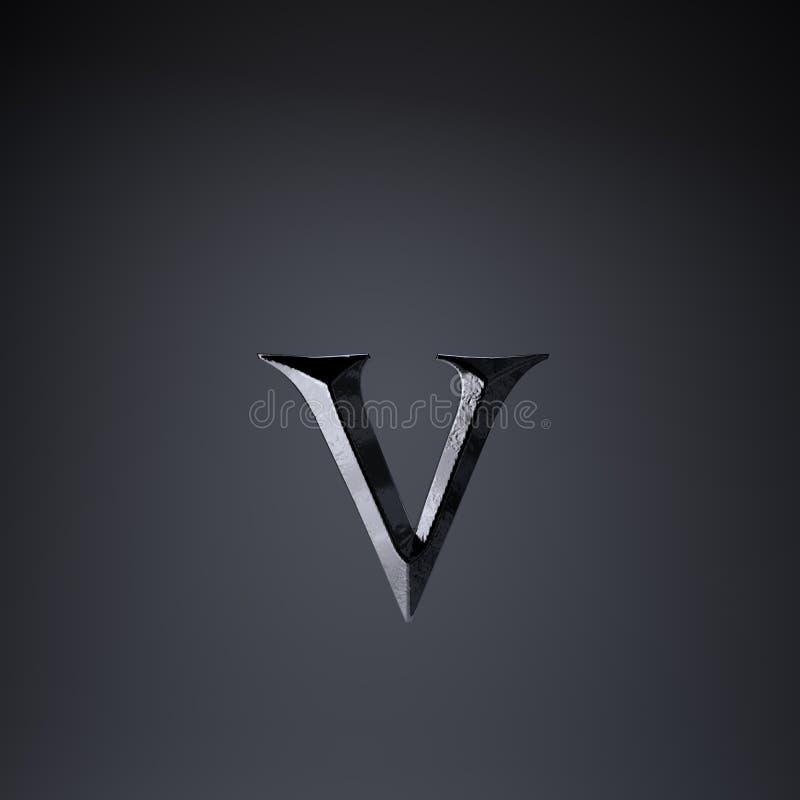 Gebeitelde ijzerbrief V in kleine letters 3d geef spel of filmtiteldoopvont terug op zwarte achtergrond wordt geïsoleerd die royalty-vrije illustratie