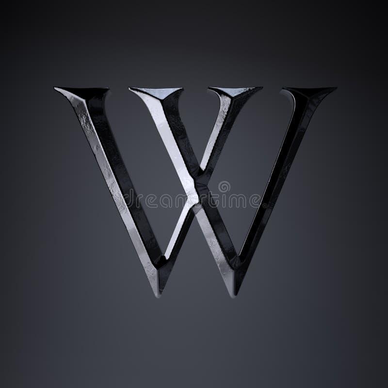 Gebeitelde ijzerbrief W in hoofdletters 3d geef spel of filmtiteldoopvont terug op zwarte achtergrond wordt geïsoleerd die stock illustratie