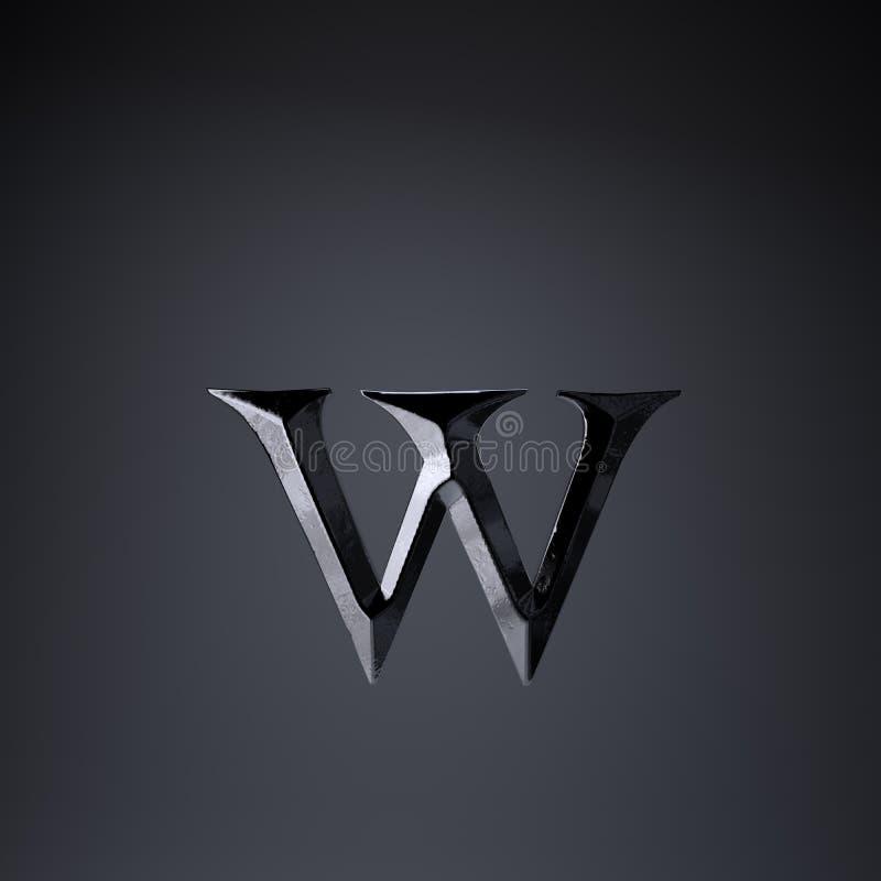 Gebeitelde ijzerbrief W in kleine letters 3d geef spel of filmtiteldoopvont terug op zwarte achtergrond wordt geïsoleerd die stock illustratie