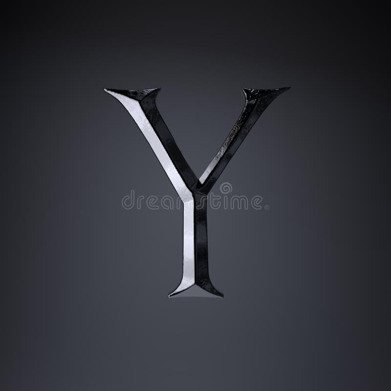 Gebeitelde ijzerbrief Y in hoofdletters 3d geef spel of filmtiteldoopvont terug op zwarte achtergrond wordt geïsoleerd die vector illustratie