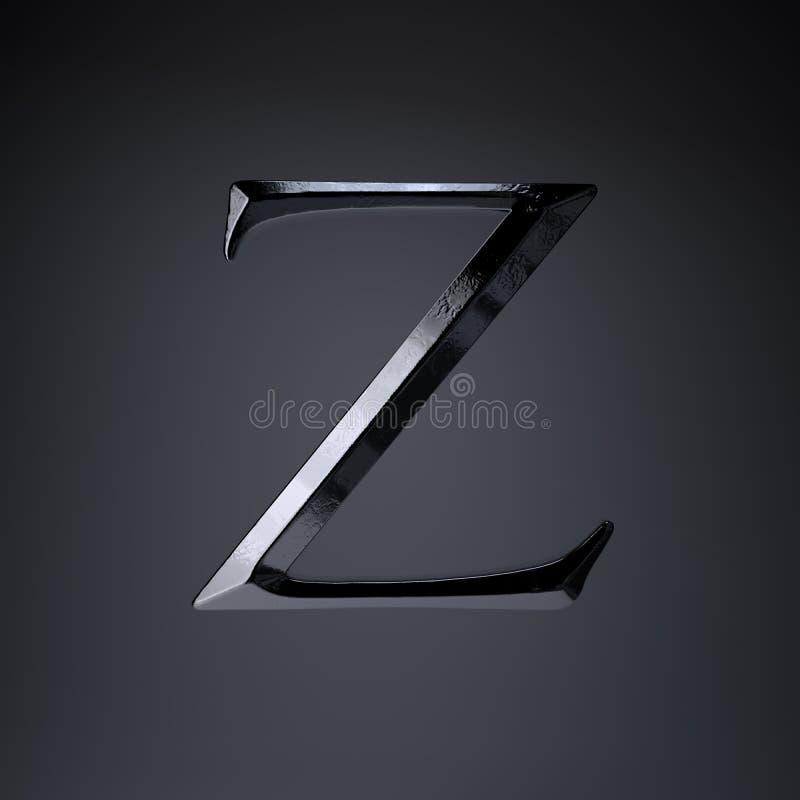 Gebeitelde ijzerbrief Z in hoofdletters 3d geef spel of filmtiteldoopvont terug op zwarte achtergrond wordt geïsoleerd die stock illustratie