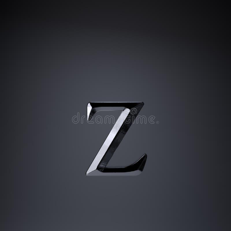 Gebeitelde ijzerbrief Z in kleine letters 3d geef spel of filmtiteldoopvont terug op zwarte achtergrond wordt geïsoleerd die royalty-vrije illustratie