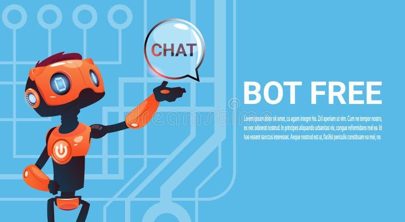 Geben Sie Chat Bot, Roboter-virtuelles Unterstützungs-Element von Website oder bewegliche Anwendungen, künstliche Intelligenz-Kon lizenzfreie abbildung