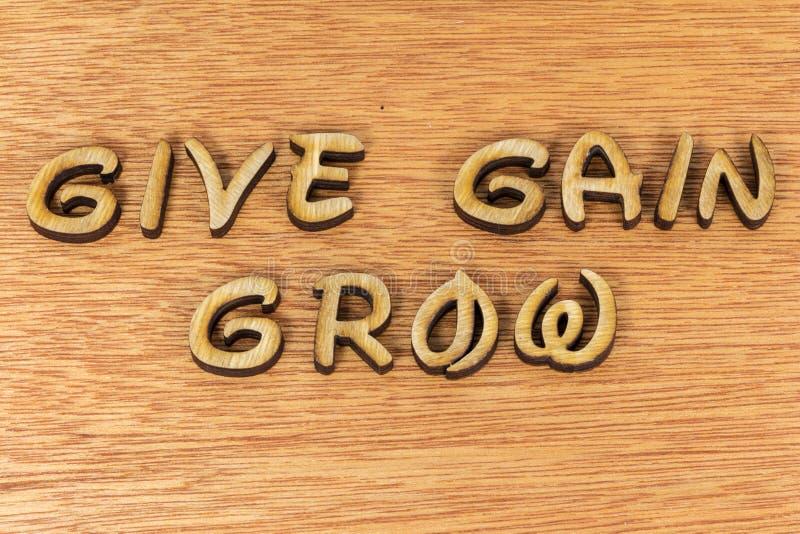 Geben Sie Gewinn wachsen Selbstverbesserungskonzept lizenzfreies stockfoto