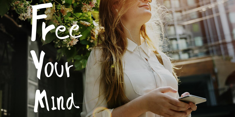 Geben Sie Ihr Sinnespositives Entspannungs-Schauer-Konzept frei lizenzfreie stockbilder