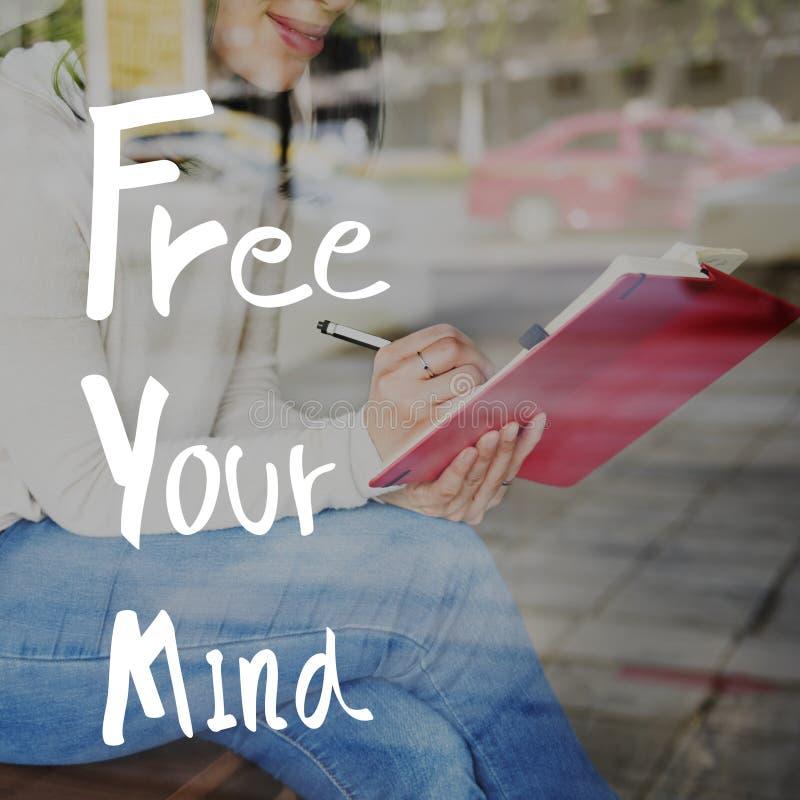 Geben Sie Ihr Sinnespositives Entspannungs-Schauer-Konzept frei lizenzfreie stockfotografie