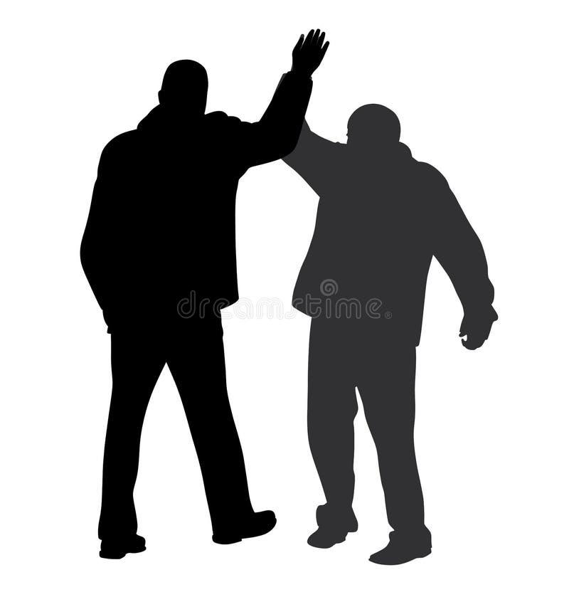 Geben Sie mir Geste fünf zwischen zwei erfolgreichen Geschäftsmännern vektor abbildung