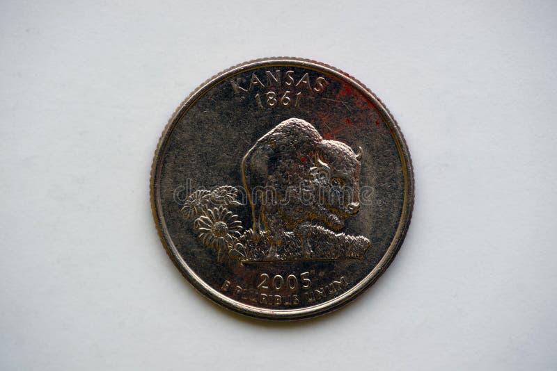 Geben Sie Viertel 25 Cents - ` Washington Quarter-` Kansas an stockfotos