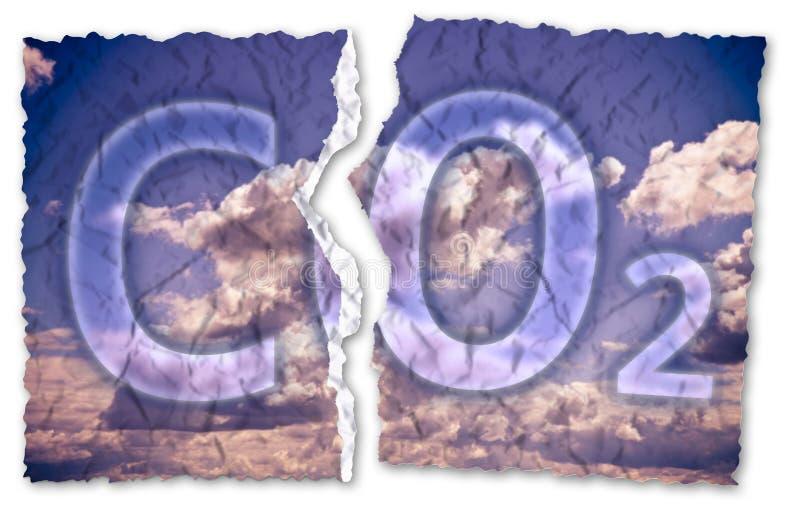 Geben Sie von der CO2-Anwesenheit in der Atmosphäre - Konzeptbild mit ri frei lizenzfreie stockfotos