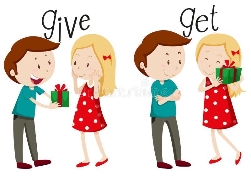 Gebender und Mädchenerhalten Junge lizenzfreie abbildung