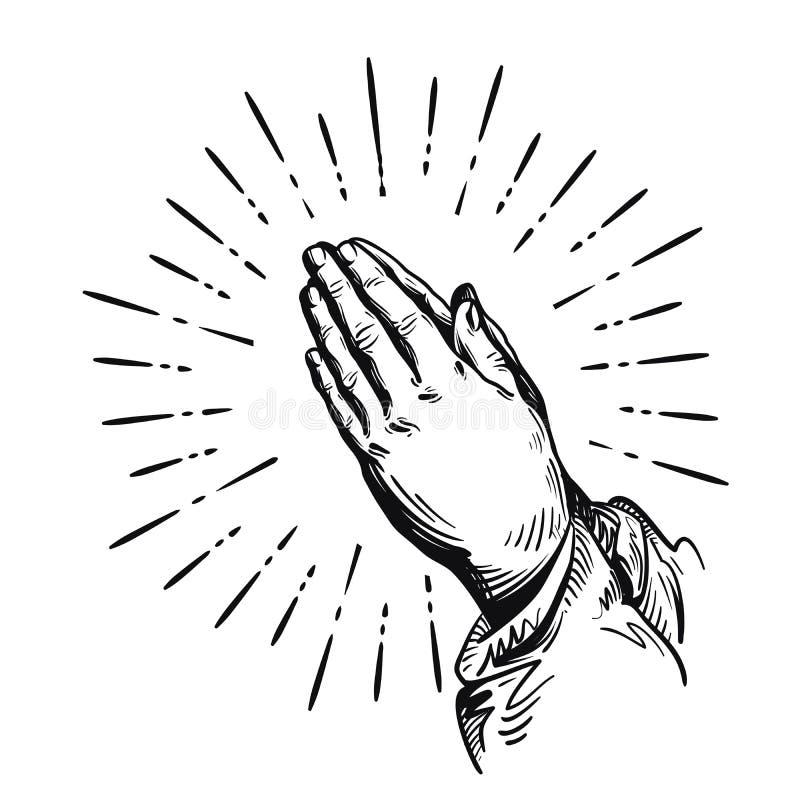 Gebet Betende Hände der Skizze Vektorabbildung getrennt auf weißem Hintergrund vektor abbildung