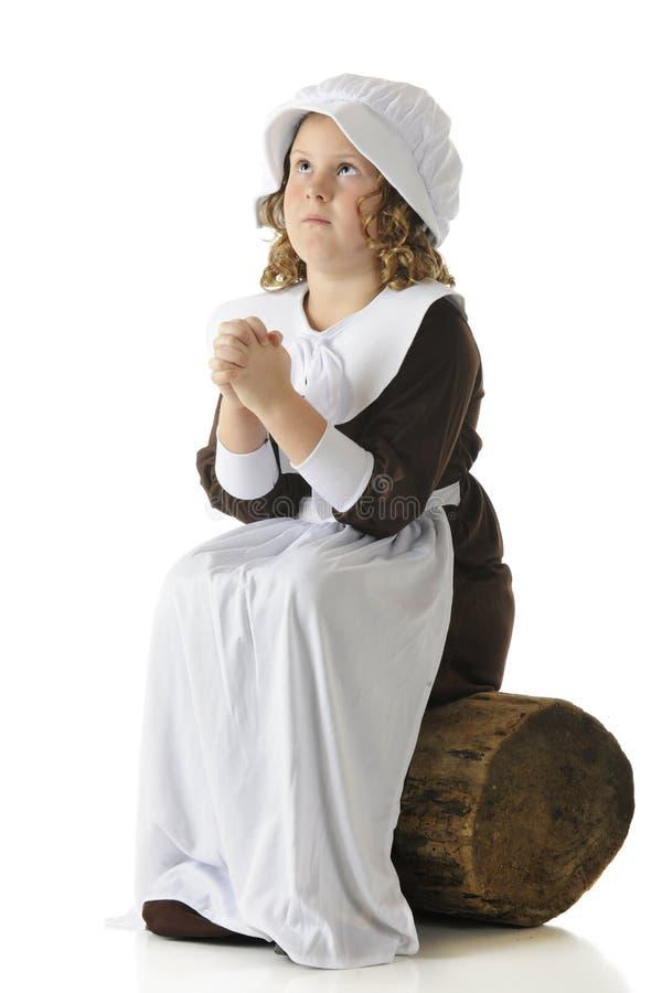 Gebet des Pilgerer-Mädchens stockfotografie